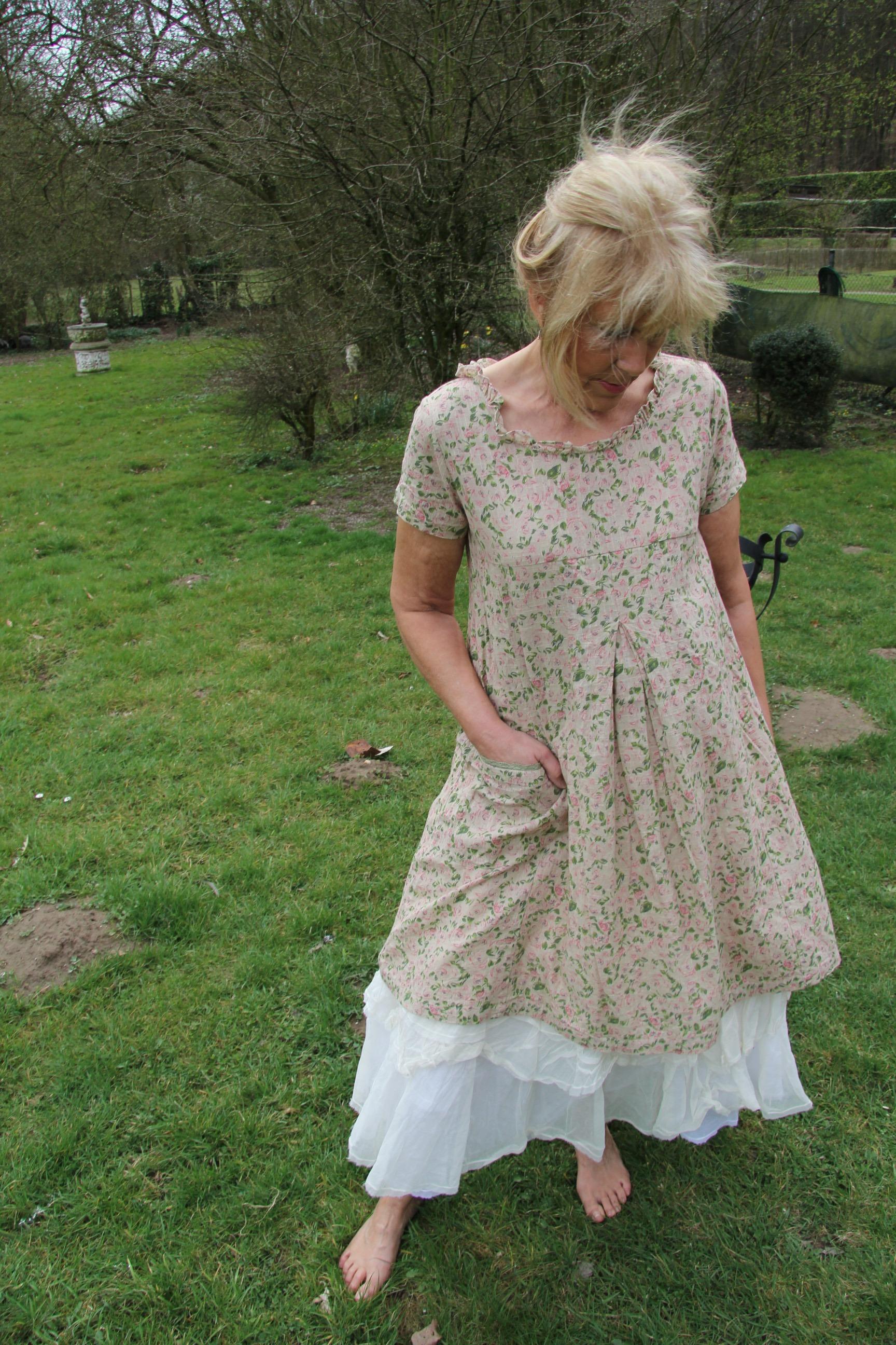 Les Ours Kleid Yvette 50206 SS18 Lin Fleurs Verte